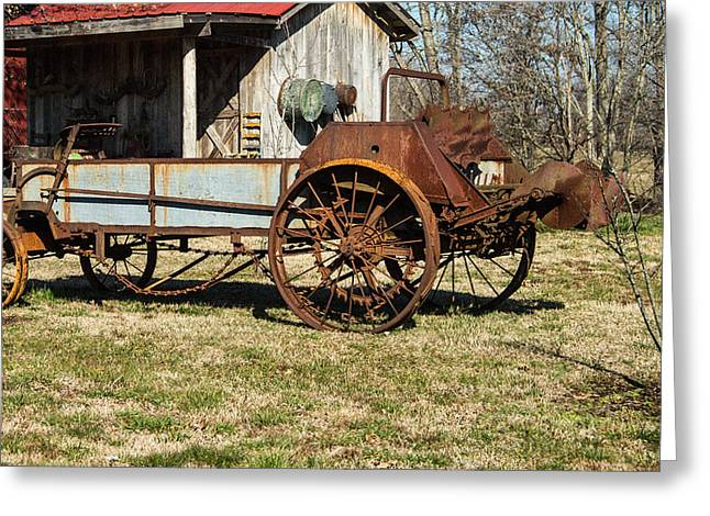 Saw Blade Greeting Cards - Antique Hay Bailer 1 Greeting Card by Douglas Barnett