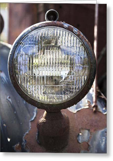 Rusted Cars Greeting Cards - Antique Headlamp Greeting Card by Charles Harden