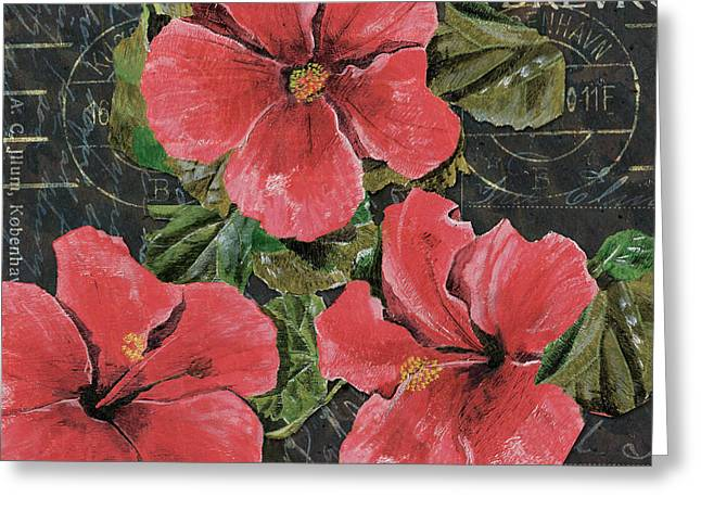 Pink Blossoms Greeting Cards - Antique Hibiscus Black 3 Greeting Card by Debbie DeWitt