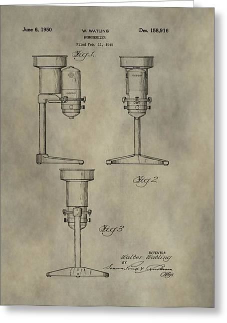Lab Mix Greeting Cards - Antique Homogenizer Patent Greeting Card by Dan Sproul