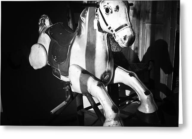 Toy Shop Greeting Cards - Antique Horse BW Greeting Card by Patrick M Lynch
