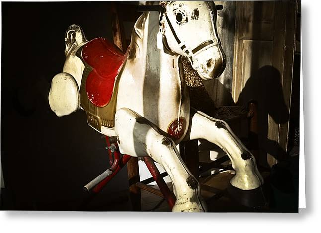 Toy Shop Greeting Cards - Antique Horse C Greeting Card by Patrick M Lynch