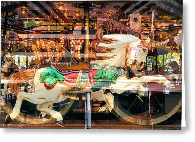 Wooden Sculpture Digital Art Greeting Cards - Antique Horse Greeting Card by Michel Kotski