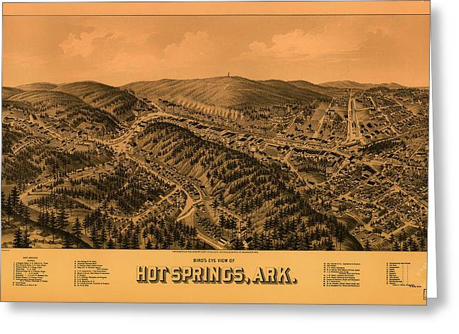 1880s Drawings Greeting Cards - Antique Illustrative Map of Hot Springs Arkansas 1888 Greeting Card by Mountain Dreams