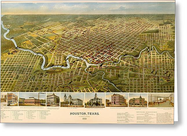 Illustrative Greeting Cards - Antique Illustrative Map of Houston 1891 Greeting Card by Mountain Dreams