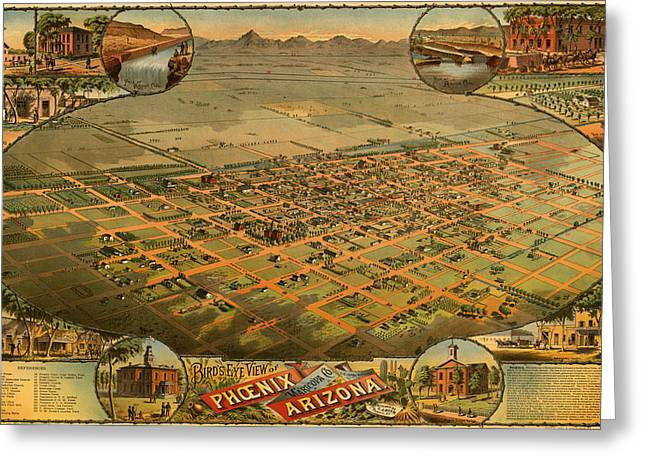 1880s Greeting Cards - Antique Illustrative Map of Phoenix Arizona 1885 Greeting Card by Mountain Dreams