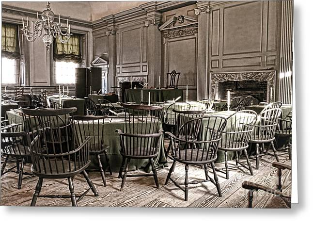 July Fourth Greeting Cards - Antique Independence Hall Greeting Card by Olivier Le Queinec