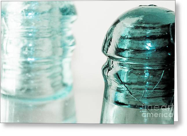 Glass Work Greeting Cards - Antique Insulators Greeting Card by Colleen Kammerer