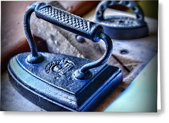 Laundry Mat Greeting Cards - Antique Iron Greeting Card by Paul Ward