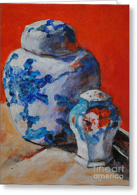 Toelle Hovan Greeting Cards - ANTIQUE JAR and SHAKER Greeting Card by Toelle Hovan
