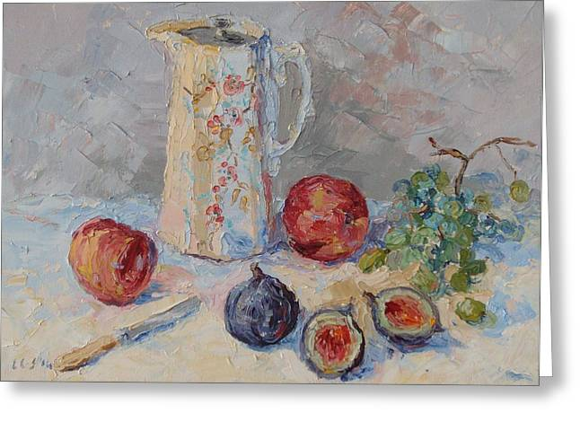 White Cloth Greeting Cards - Antique Jug with Fruit Greeting Card by Elinor Fletcher