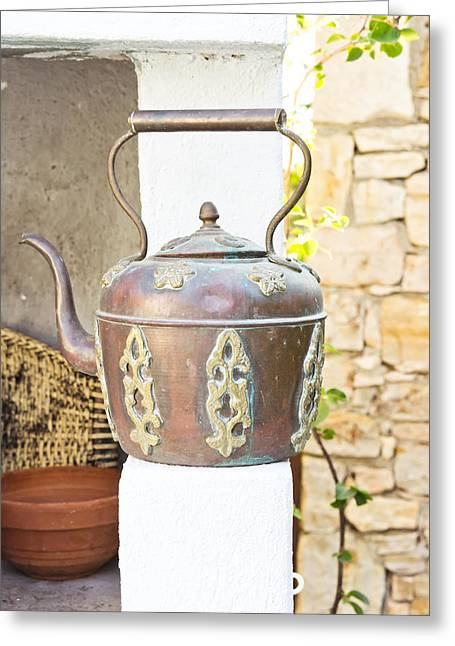 Hot Iron Greeting Cards - Antique kettle Greeting Card by Tom Gowanlock