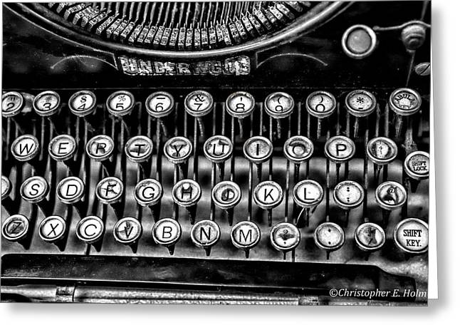 Typewriter Keys Greeting Cards - Antique Keyboard - BW Greeting Card by Christopher Holmes