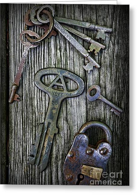 Police Officer Greeting Cards - Antique Keys and Padlock Greeting Card by Paul Ward