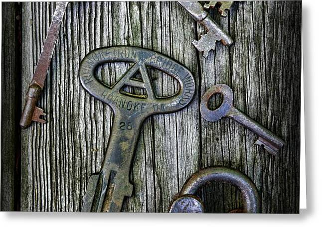 Antique Keys and Padlock Greeting Card by Paul Ward