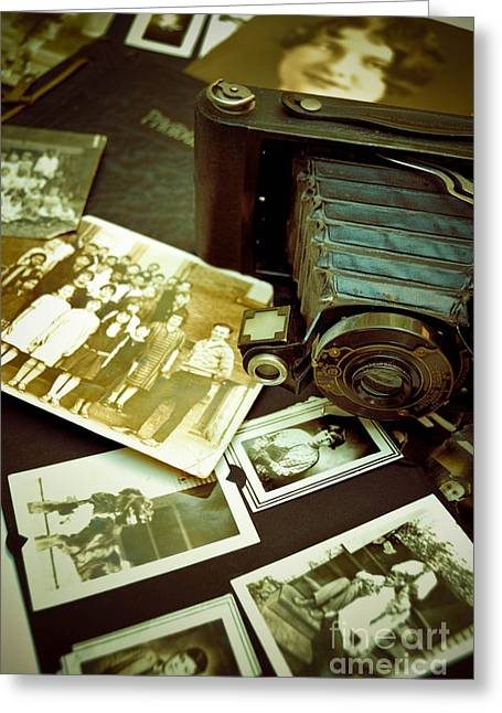 Photos Album Greeting Cards - Antique Kodak Camera and Vintage Photographs Greeting Card by Amy Cicconi