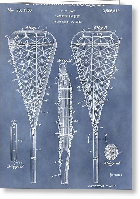 Coach Drawings Greeting Cards - Antique Lacrosse Racquet Patent Greeting Card by Dan Sproul