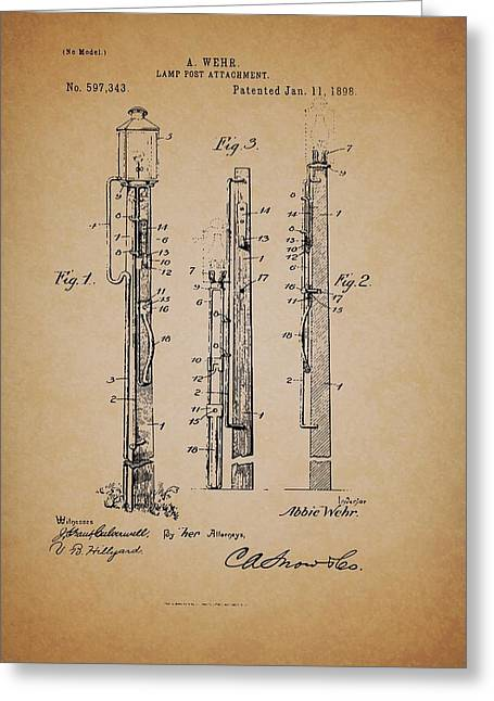 Pole Drawings Greeting Cards - Antique Lamp Post Attachment Patent Greeting Card by Mountain Dreams