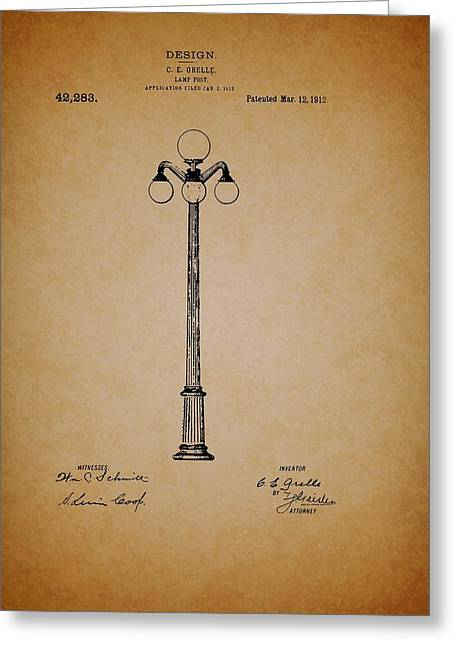 Pole Drawings Greeting Cards - Antique Lamp Post Patent Greeting Card by Mountain Dreams