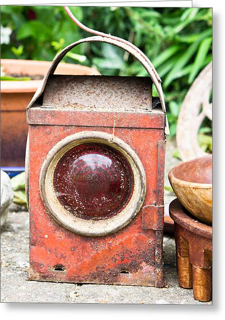 Antique Lantern Greeting Card by Tom Gowanlock