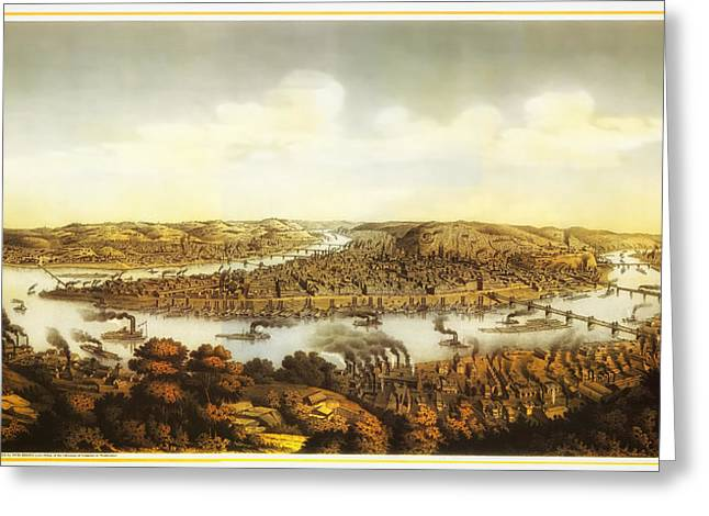 Pittsburgh Drawings Greeting Cards - Antique Lithograph of Pittsburgh 1874 Greeting Card by Mountain Dreams