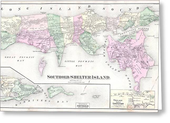 Antique Long Island Map Greeting Card by Dan Sproul