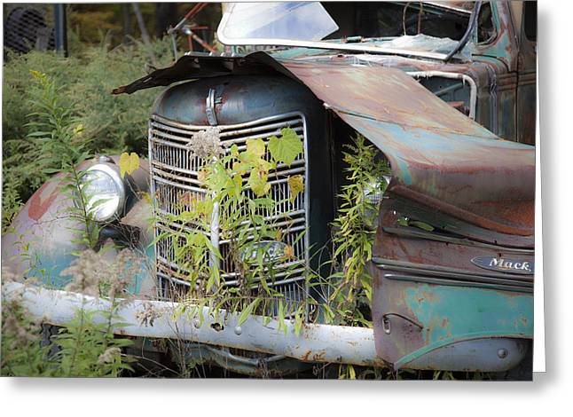 Rusted Cars Greeting Cards - Antique Mack Truck Greeting Card by Charles Harden