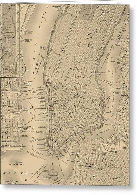 Cartography Mixed Media Greeting Cards - Antique Manhattan Map Greeting Card by Dan Sproul