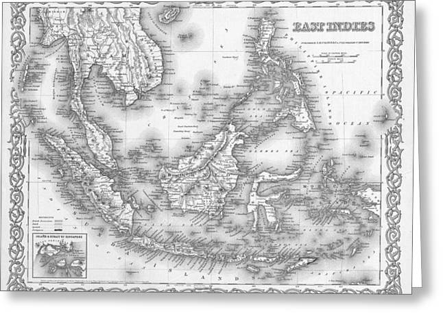 Cartography Mixed Media Greeting Cards - Antique Map 1855 East Indies Greeting Card by Dan Sproul