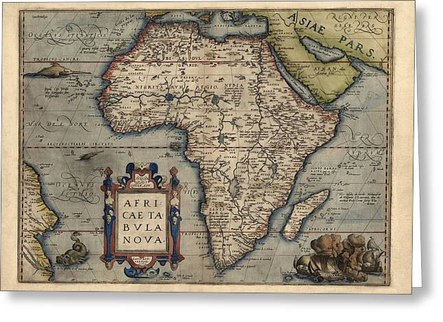 Africa Map Greeting Cards - Antique Map of Africa by Abraham Ortelius - 1570 Greeting Card by Blue Monocle