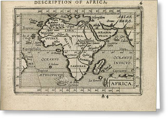 Africa Map Greeting Cards - Antique Map of Africa by Abraham Ortelius - 1603 Greeting Card by Blue Monocle