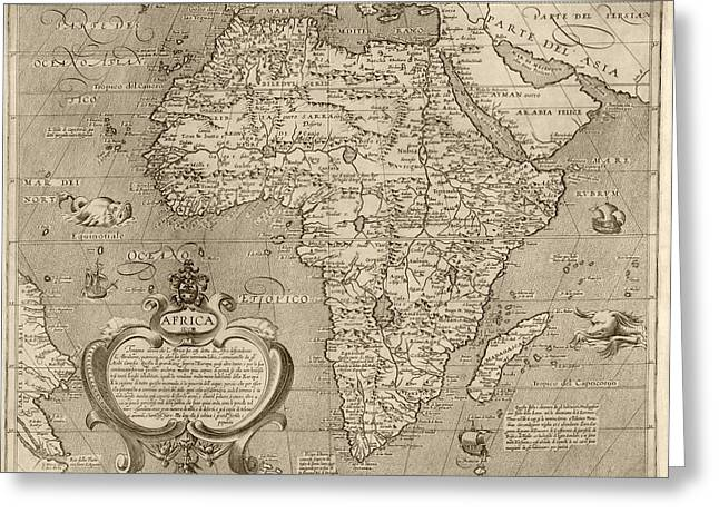 Africa Map Greeting Cards - Antique Map of Africa by Arnoldo di Arnoldi - circa 1600 Greeting Card by Blue Monocle