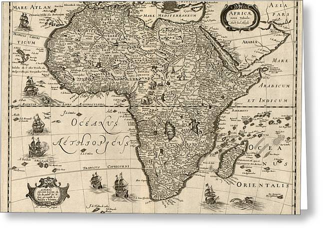 Africa Map Greeting Cards - Antique Map of Africa by Jodocus Hondius - circa 1640 Greeting Card by Blue Monocle