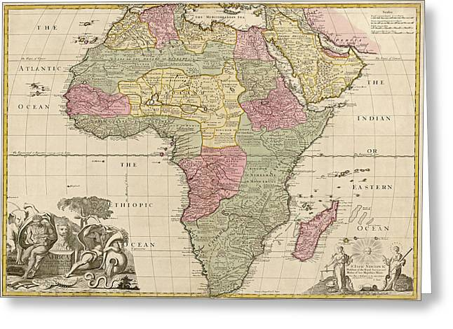 Africa Map Greeting Cards - Antique Map of Africa by John Senex - circa 1725 Greeting Card by Blue Monocle