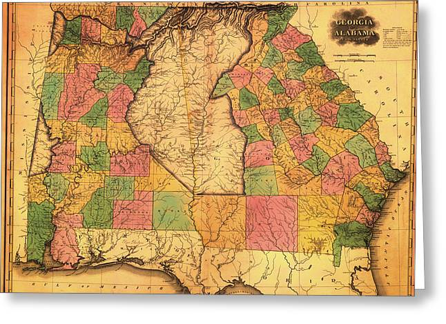Alabama Drawings Greeting Cards - Antique Map of Alabama and Georgia 1823 Greeting Card by Mountain Dreams