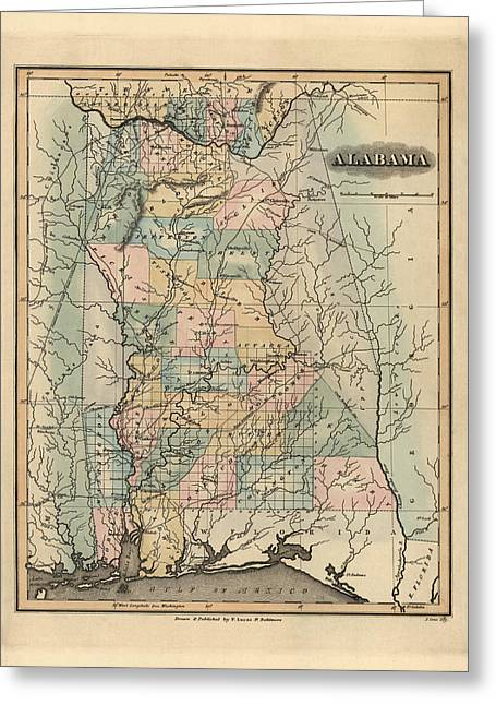 Alabama Drawings Greeting Cards - Antique Map of Alabama by Fielding Lucas - 1826 Greeting Card by Blue Monocle
