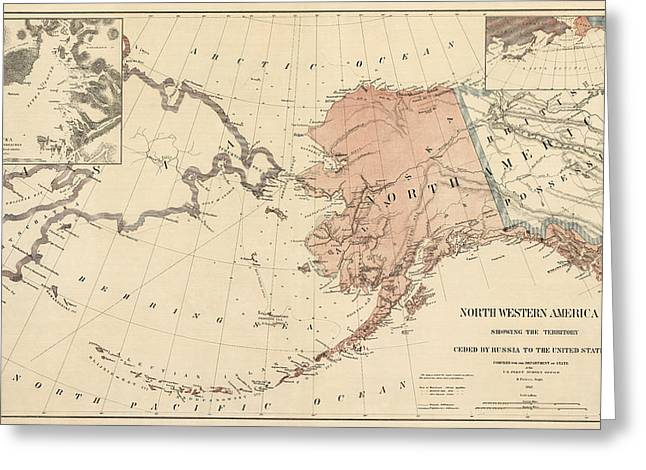 Surveys Greeting Cards - Antique Map of Alaska - 1867 Greeting Card by Blue Monocle