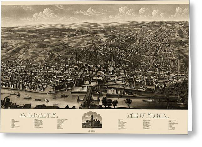 Albany Greeting Cards - Antique Map of Albany New York by H.H. Rowley and Co. - 1879 Greeting Card by Blue Monocle