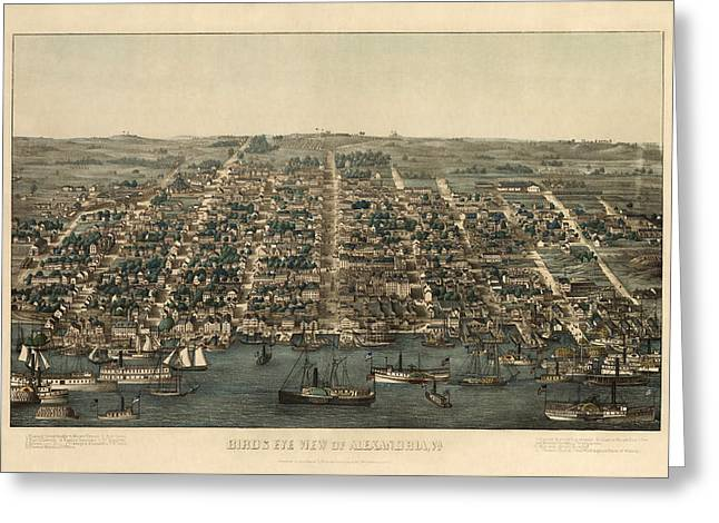 View Drawings Greeting Cards - Antique Map of Alexandria Virginia by Charles Magnus - 1863 Greeting Card by Blue Monocle