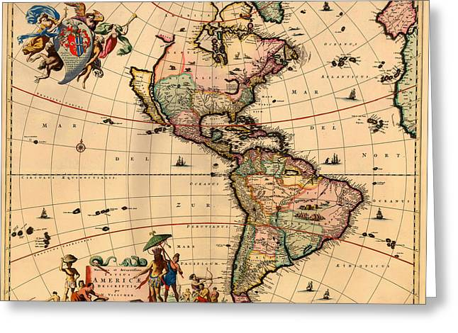 North Sea Drawings Greeting Cards - Antique Map of America 1670 Greeting Card by Mountain Dreams