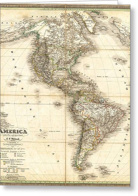 America City Map Greeting Cards - Antique Map Of Americas Greeting Card by C F  Weiland