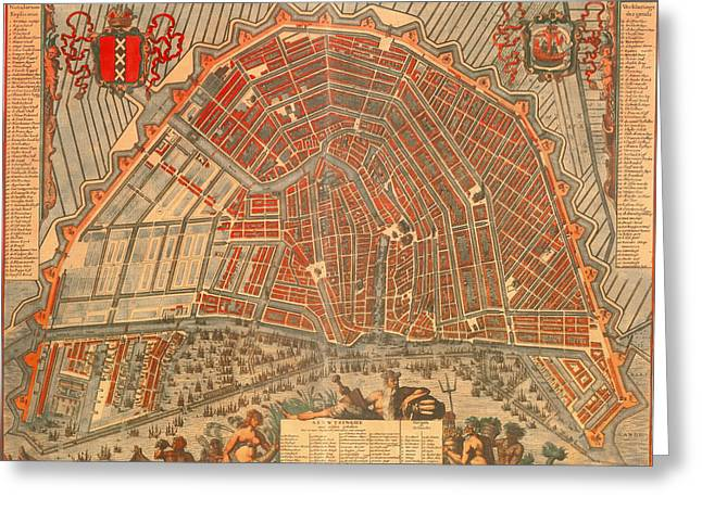 Urban City Areas Greeting Cards - Antique Map of Amsterdam 1692 Greeting Card by Mountain Dreams