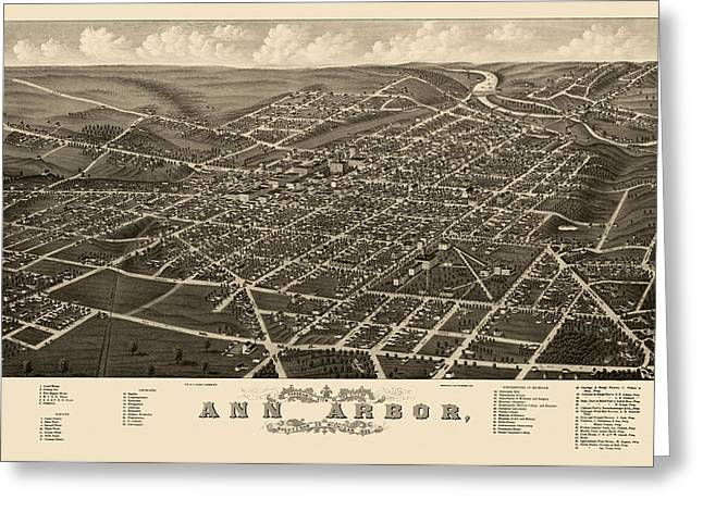 View Drawings Greeting Cards - Antique Map of Ann Arbor Michigan by A. Ruger - 1880 Greeting Card by Blue Monocle