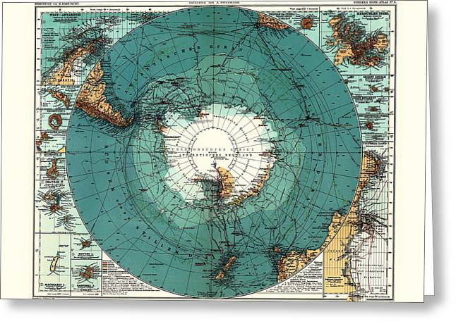 Illustrative Greeting Cards - Antique Map of Antarctica Greeting Card by Mountain Dreams