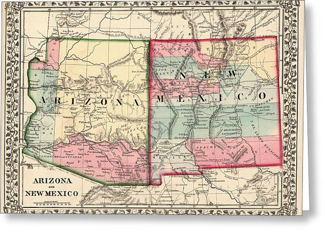 Augustus Greeting Cards - Antique Map of Arizona and New Mexico by Samuel Augustus Mitchell - 1867 Greeting Card by Blue Monocle