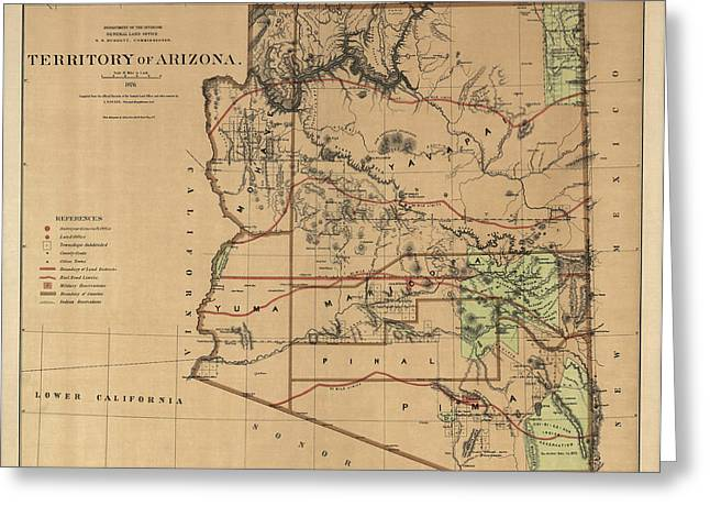 University Of Arizona Drawings Greeting Cards - Antique Map of Arizona by the U.S. General Land Office - 1876 Greeting Card by Blue Monocle