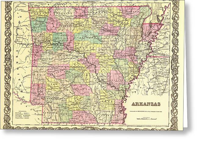 Arkansas Drawings Greeting Cards - Antique Map of Arkansas 1855 Greeting Card by Mountain Dreams