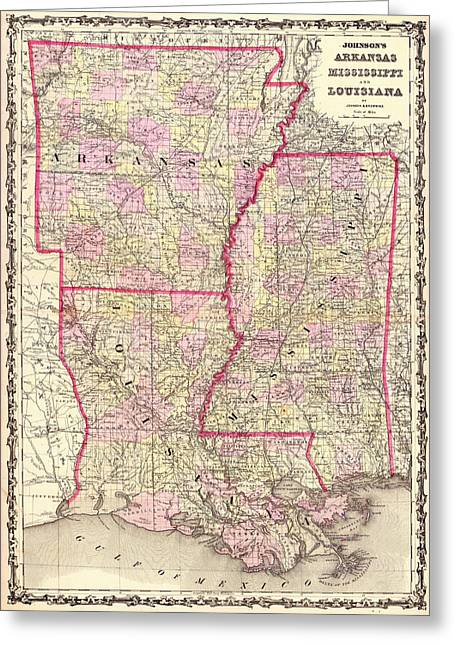 Arkansas Greeting Cards - Antique Map of Arkansas Mississippi and Louisiana Greeting Card by Mountain Dreams