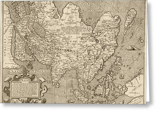 Asia Drawings Greeting Cards - Antique Map of Asia by Arnoldo di Arnoldi - circa 1600 Greeting Card by Blue Monocle