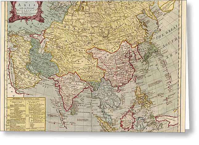 Asia Drawings Greeting Cards - Antique Map of Asia by Jean Palairet - circa 1780 Greeting Card by Blue Monocle